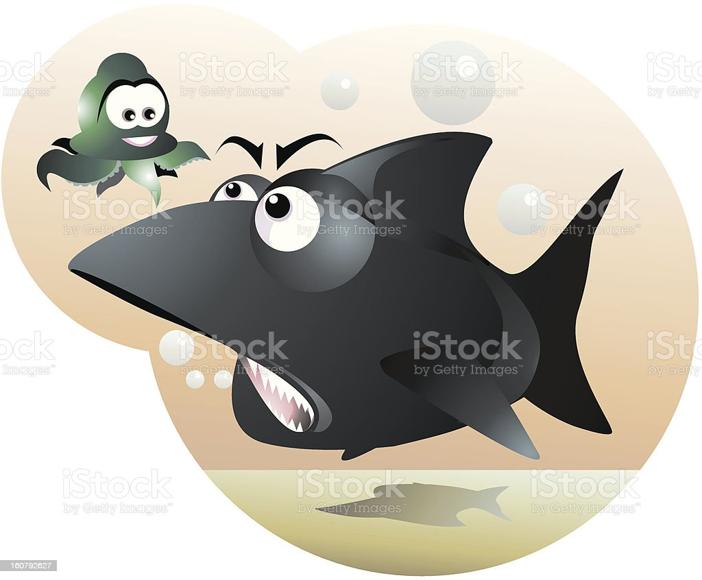 Shark and octopus royalty-free stock vector art