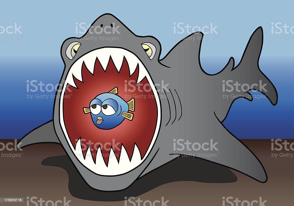 Shark and prey vector art illustration