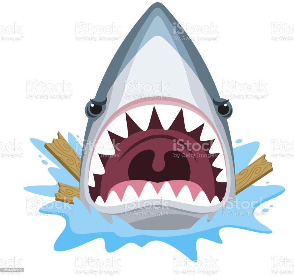 Shark attack jaw teeth mad furious vector art illustration