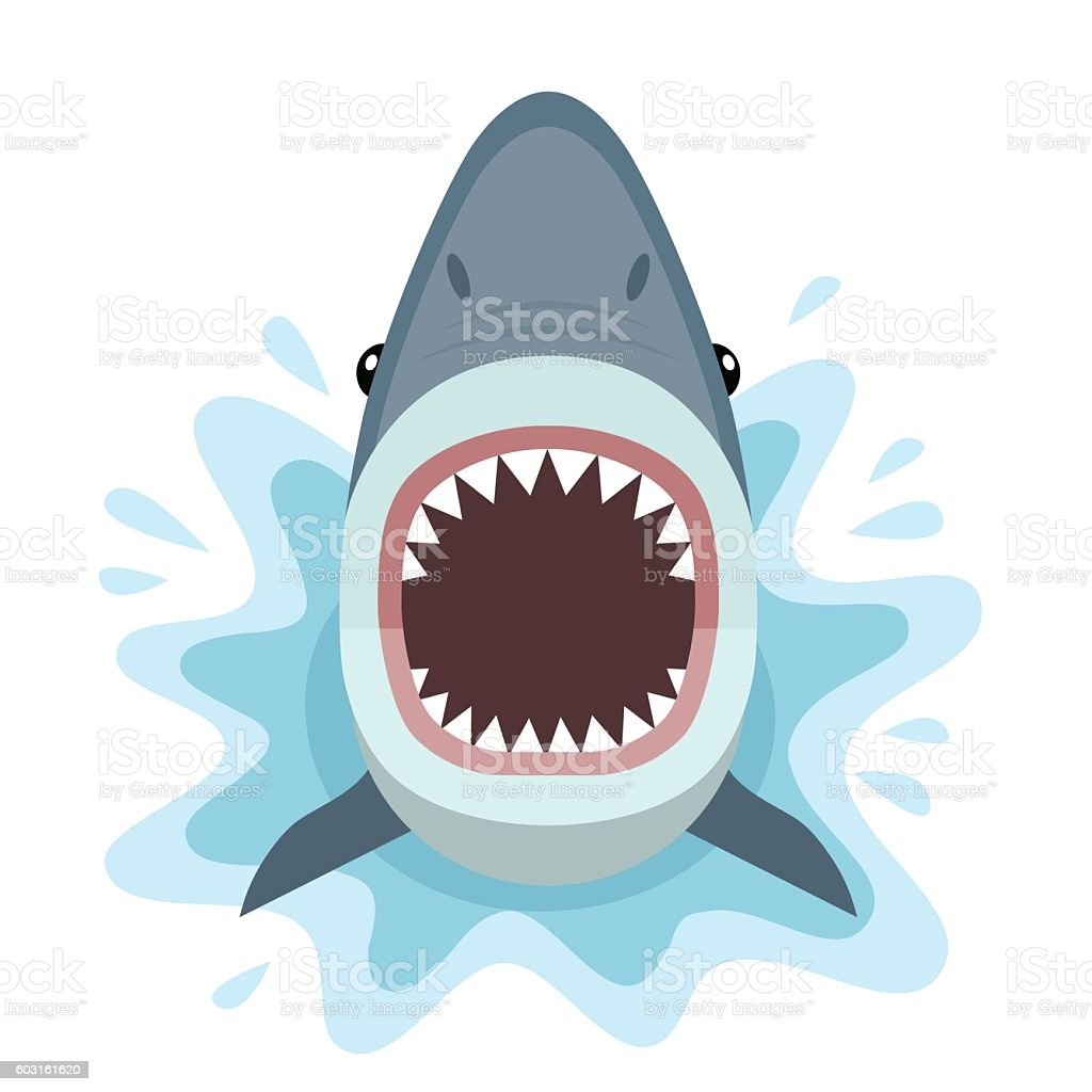 Shark attacks from the water. vector art illustration