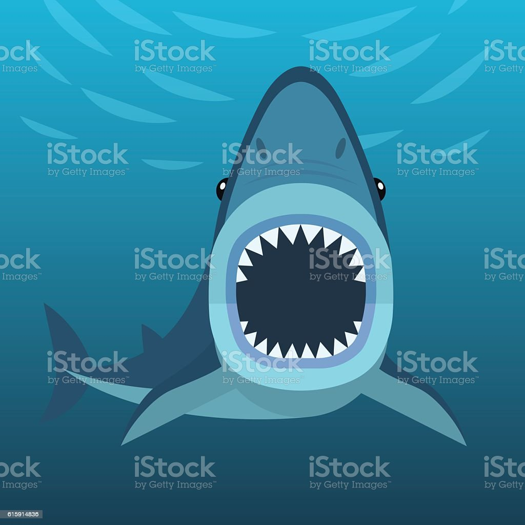 Shark attacks under the water vector art illustration