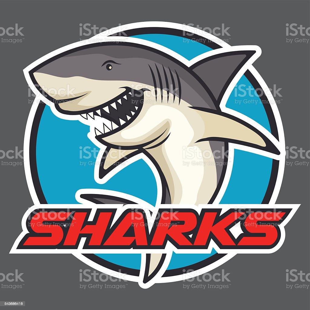 Shark badge vector art illustration