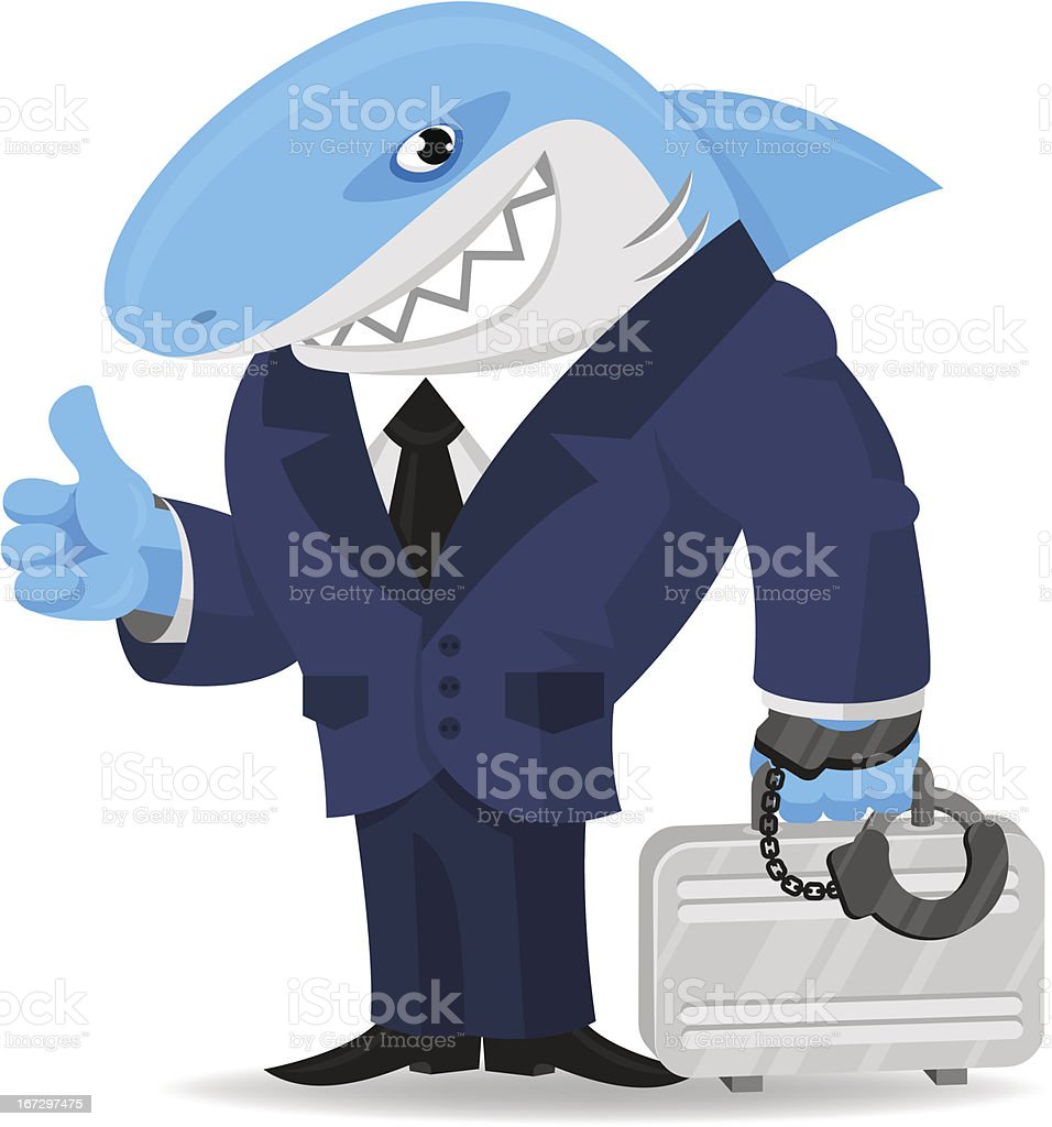 Shark business keeps suitcase in handcuffs royalty-free stock vector art