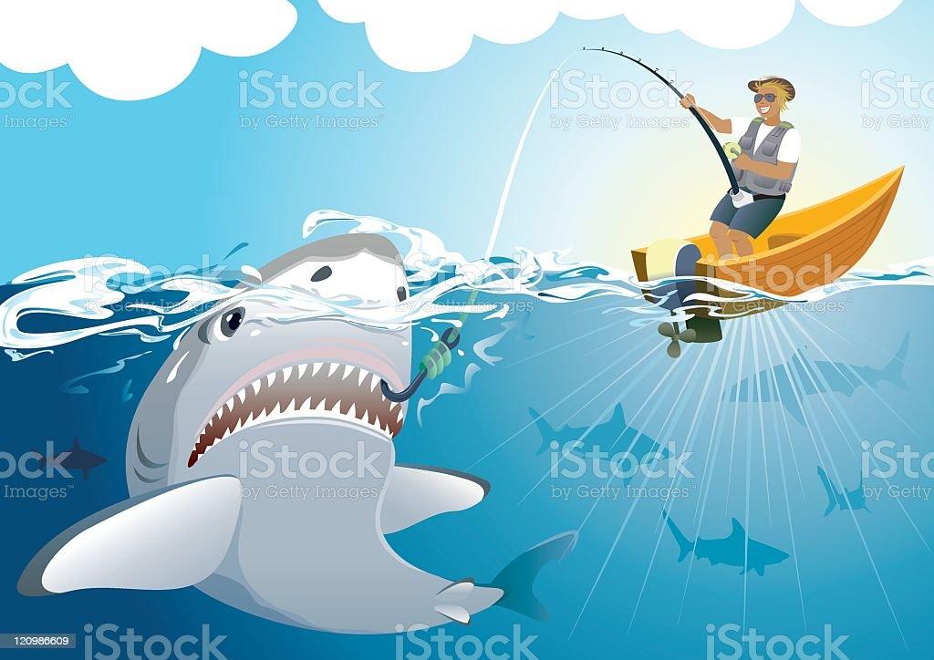 Shark catching vector art illustration