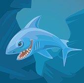 Shark character with sharp teeth