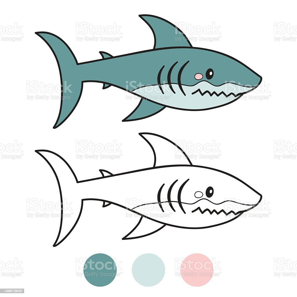 shark coloring book page cartoon vector illustration game for