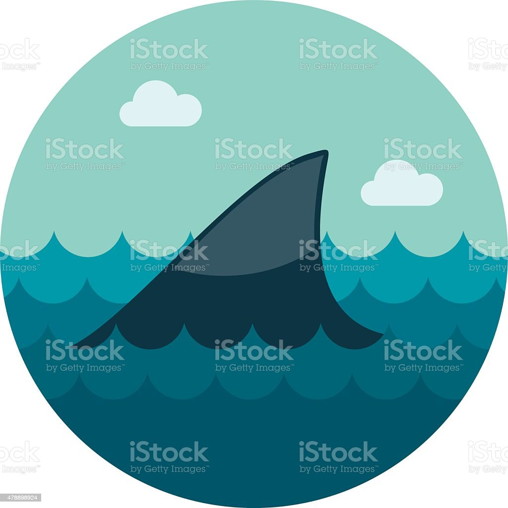 Shark fin icon vector art illustration