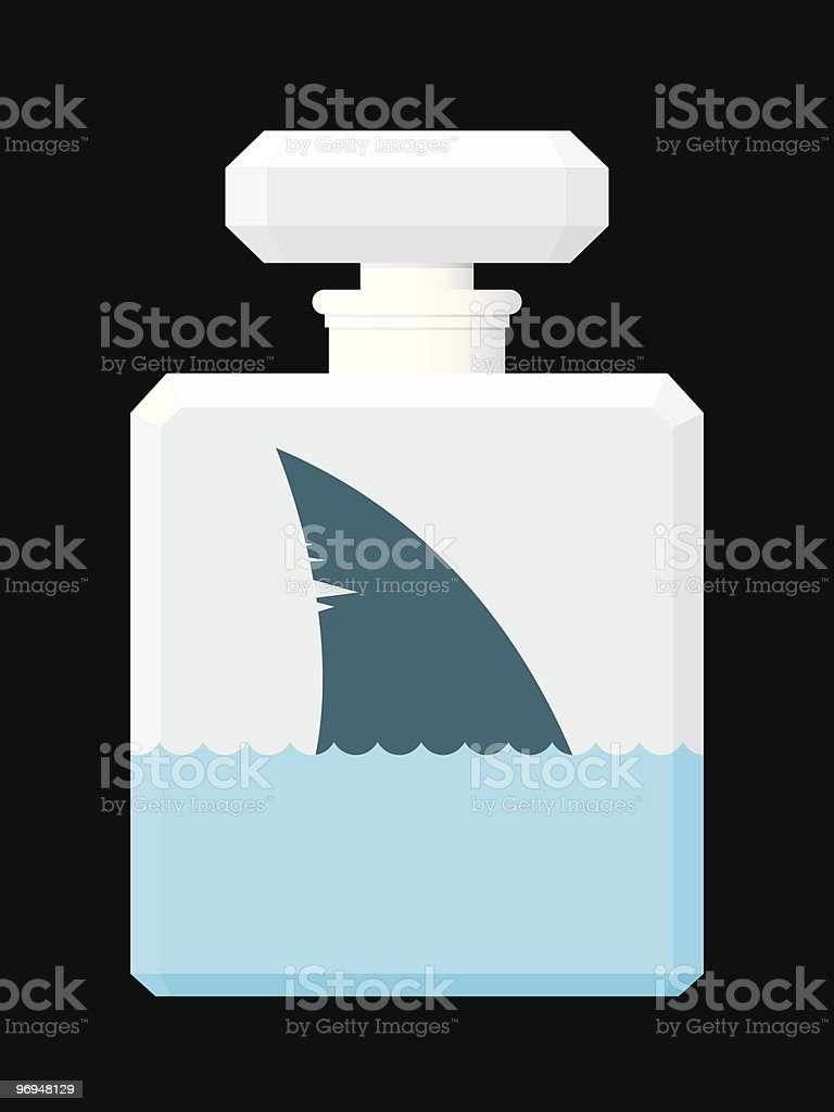 Shark fin in perfume flask vector art illustration