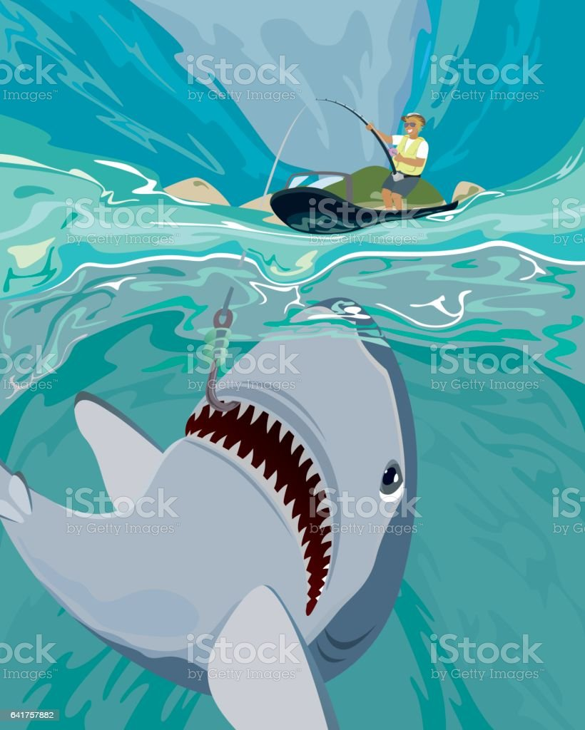 Shark fishing vector illustration vector art illustration