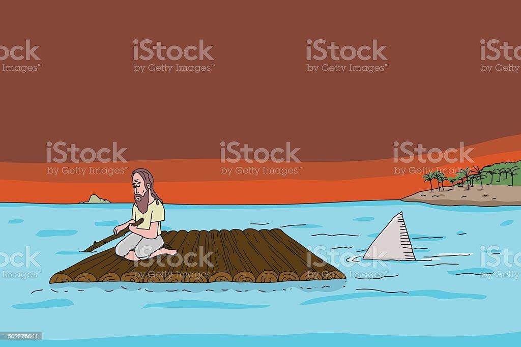 Shark Following Man on Raft vector art illustration