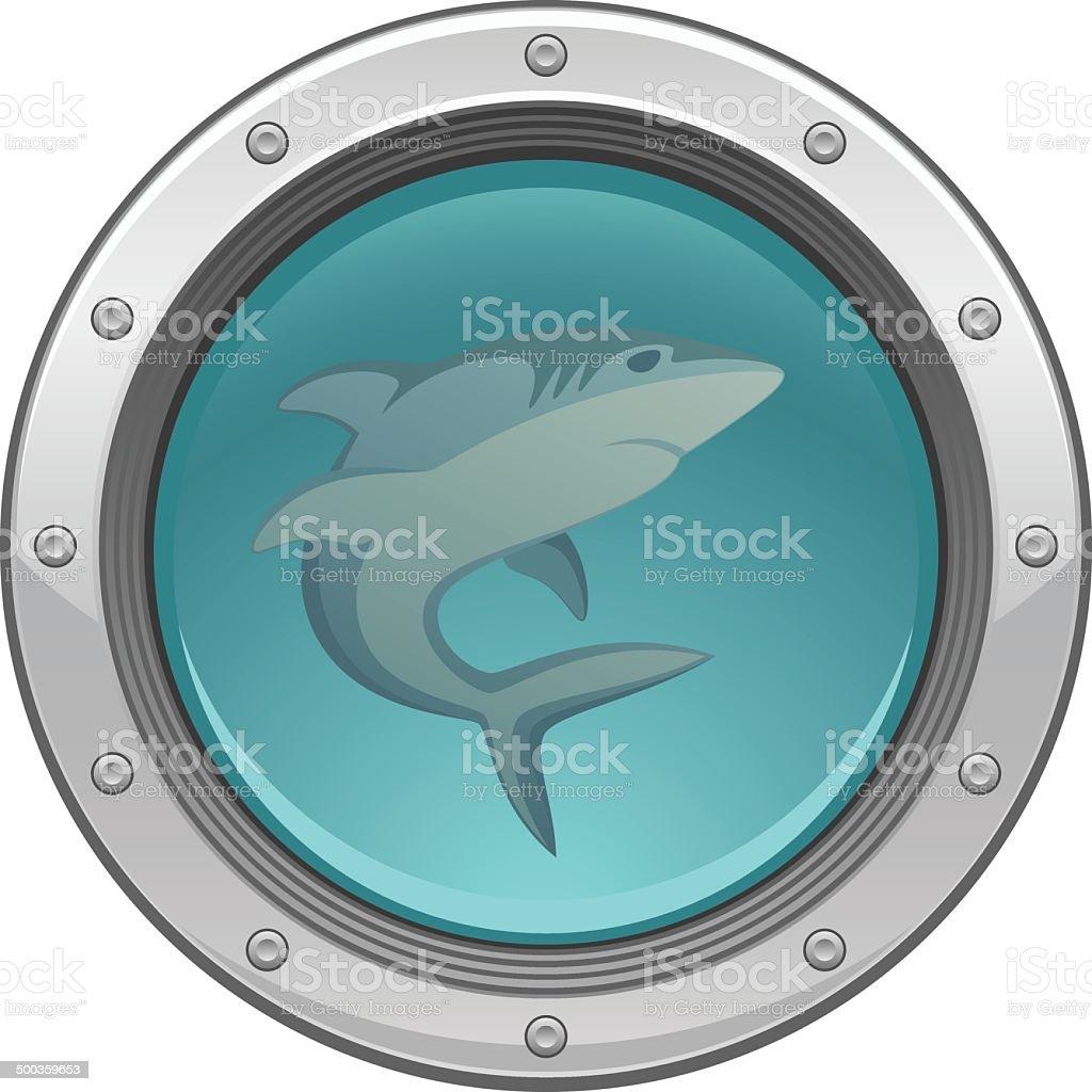 Shark in porthole vector art illustration