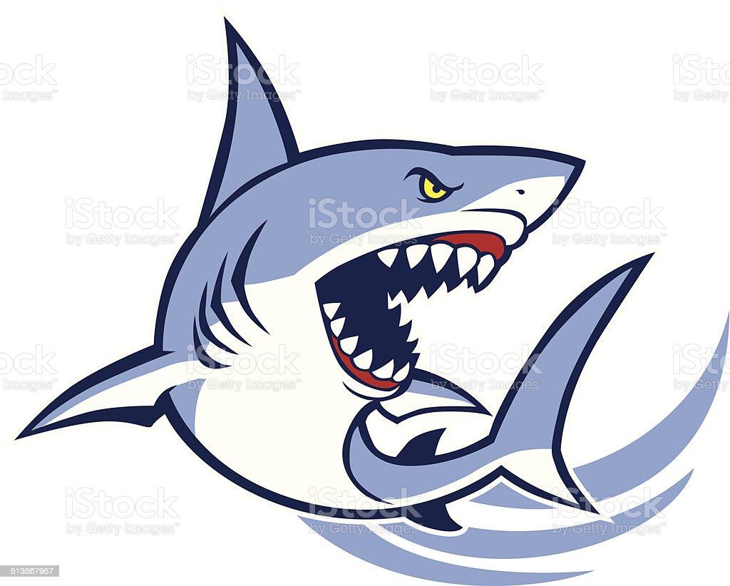 shark mascot vector art illustration