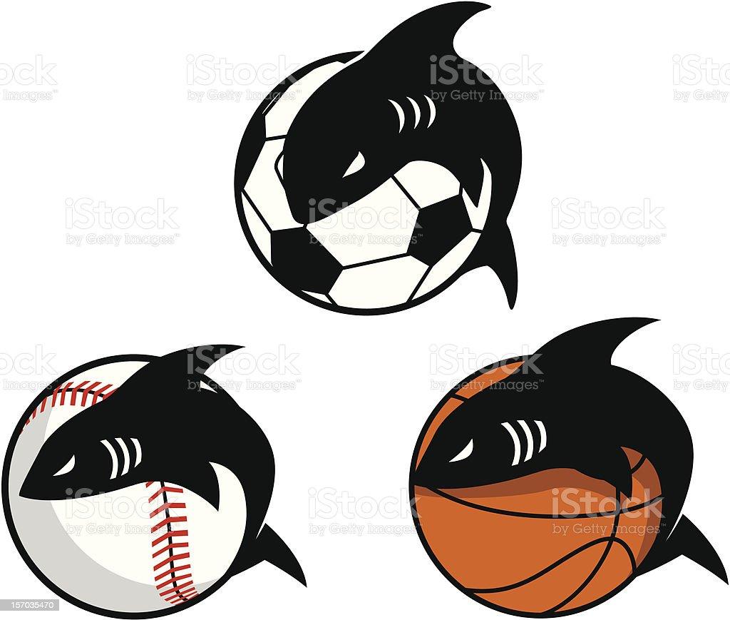 Shark Sports Mascots royalty-free stock vector art