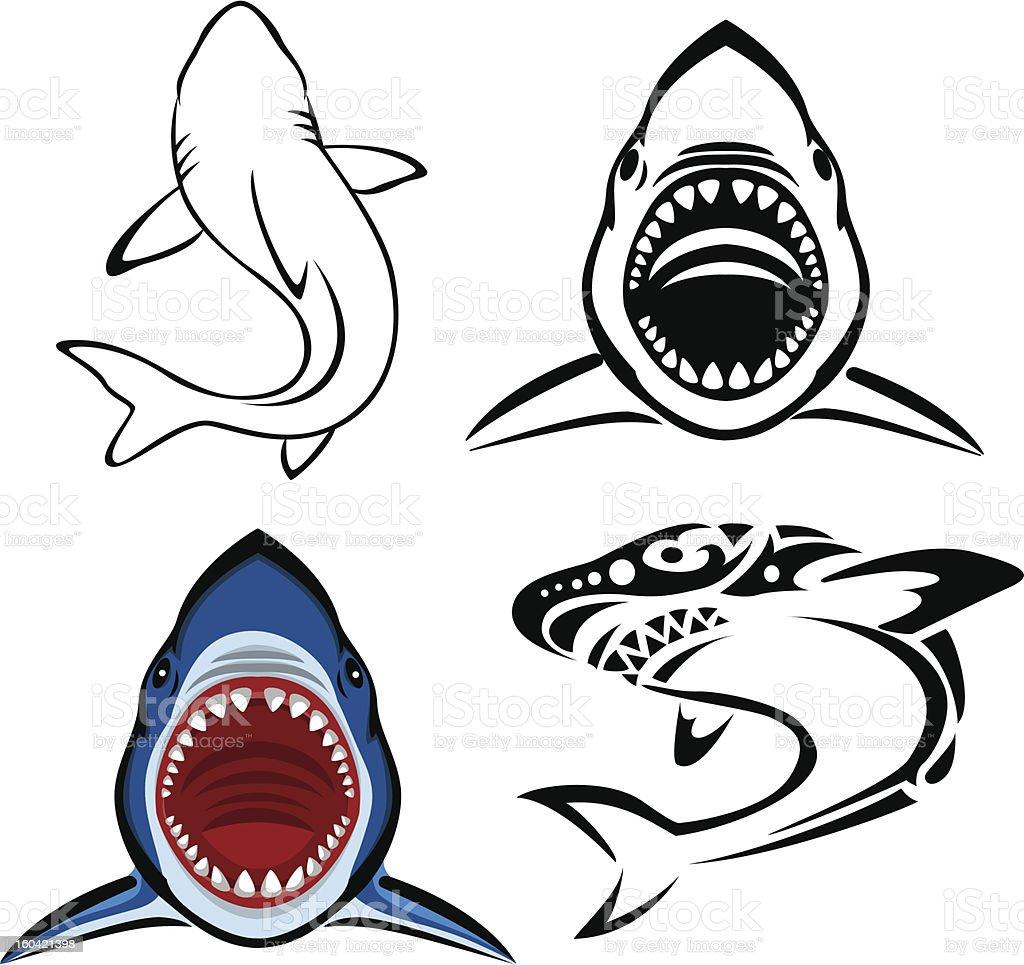 Shark tattoo vector art illustration
