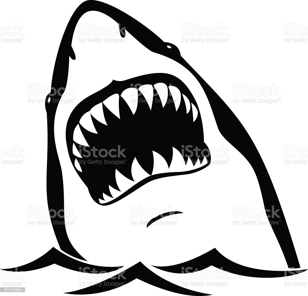 Cartoon Shark Mouth Open Black And White