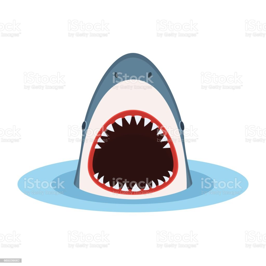 Shark with open mouth vector art illustration