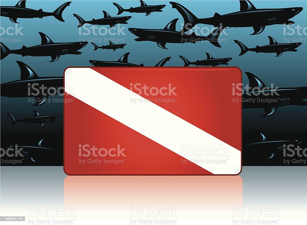 Sharks and No Diving Symbol royalty-free stock vector art