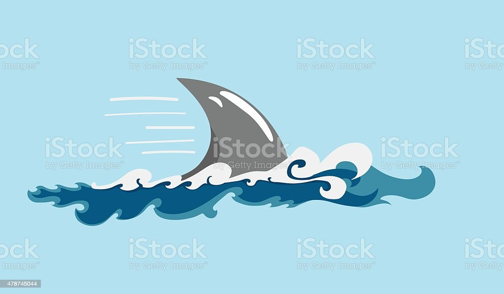 shark's fin vector art illustration