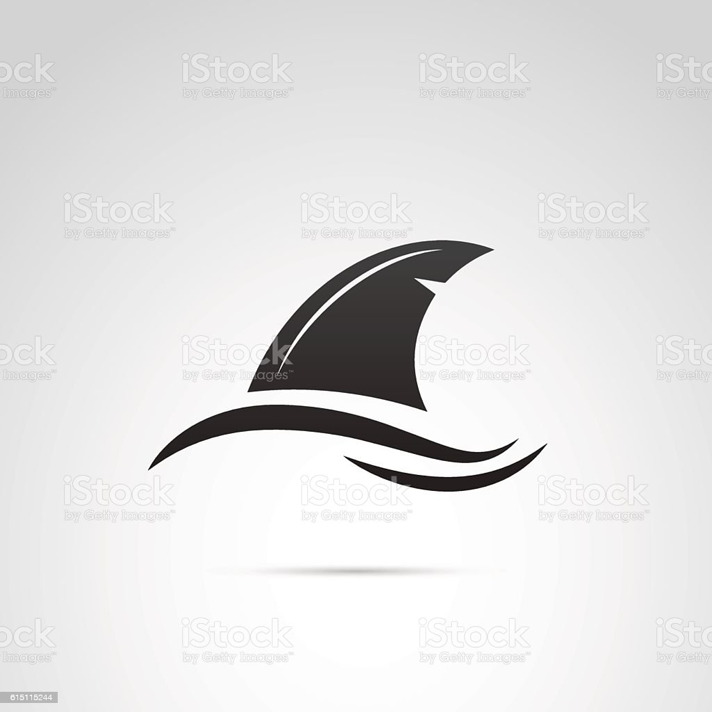 Shark's fin vector icon. vector art illustration
