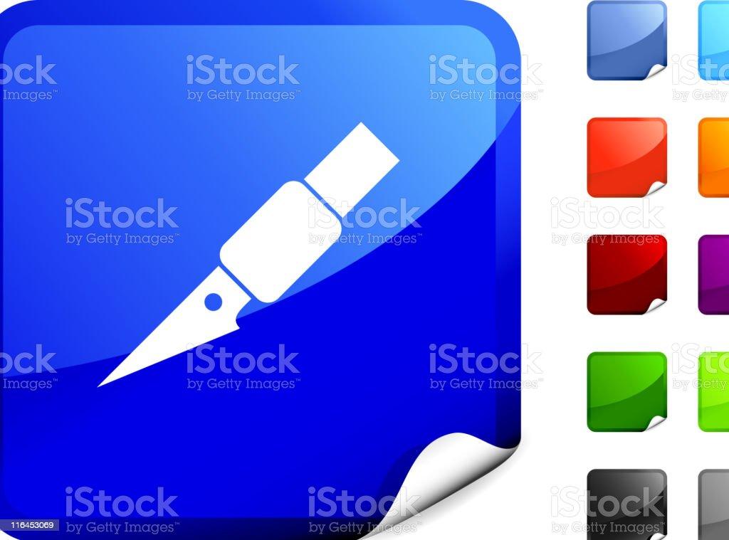 sharp edge blade royalty free vector art on Blue Sticker vector art illustration