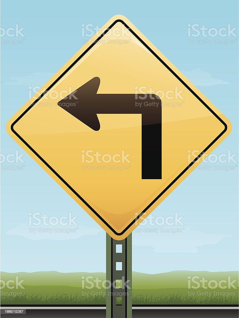 Sharp Left Turn Road Sign royalty-free stock vector art