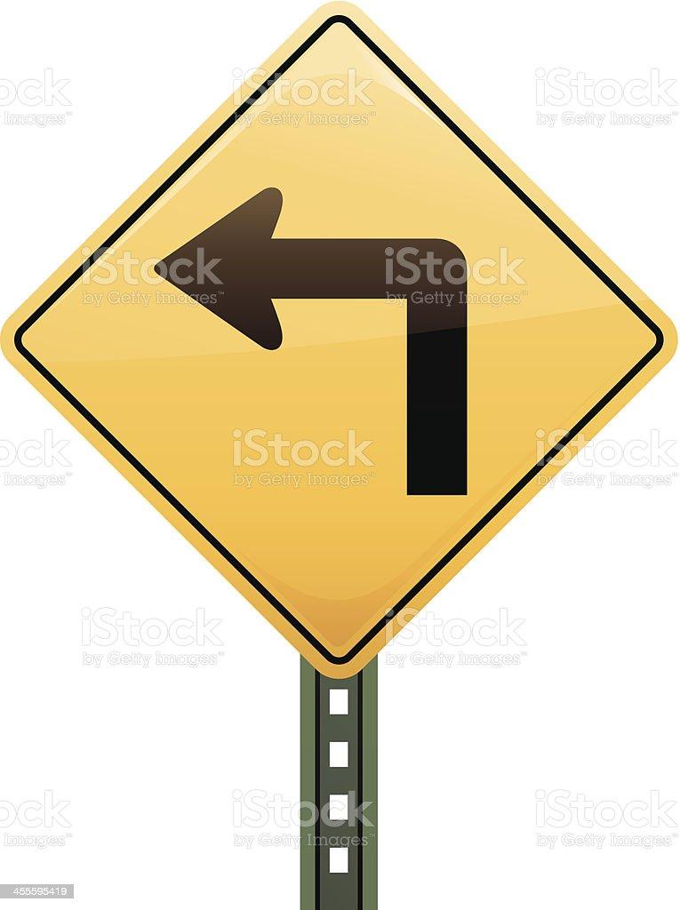 Sharp Left Turn Road Sign vector art illustration