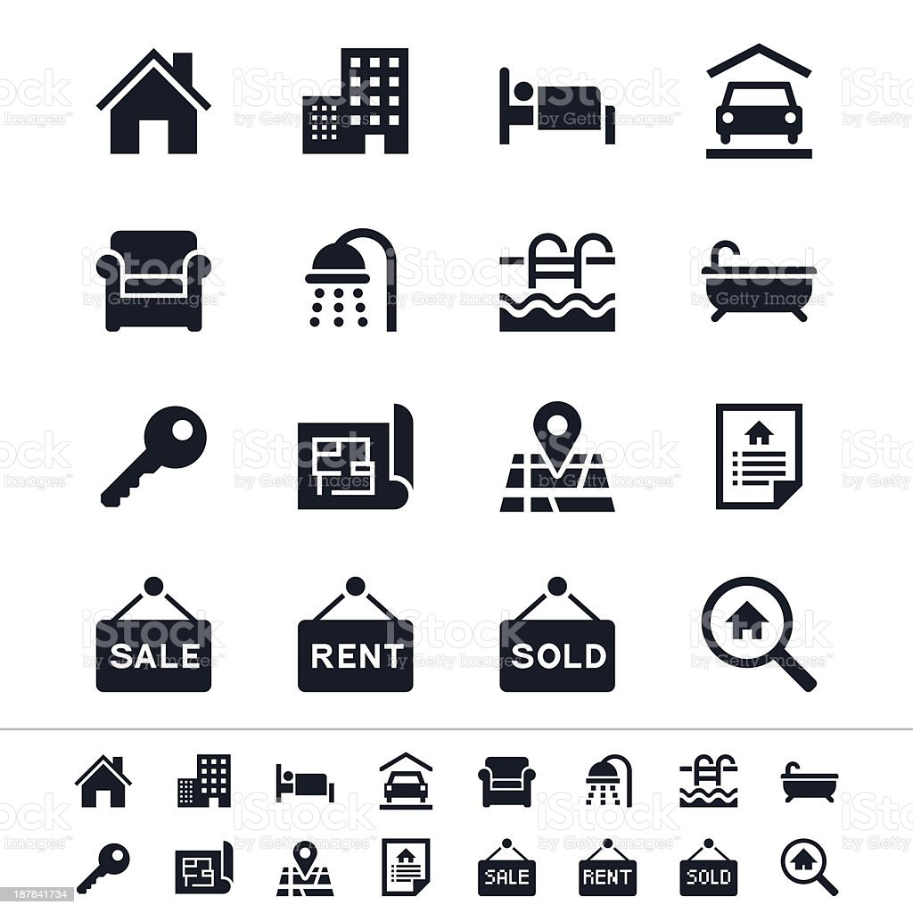 Sharp vector real estate icons in black and white vector art illustration