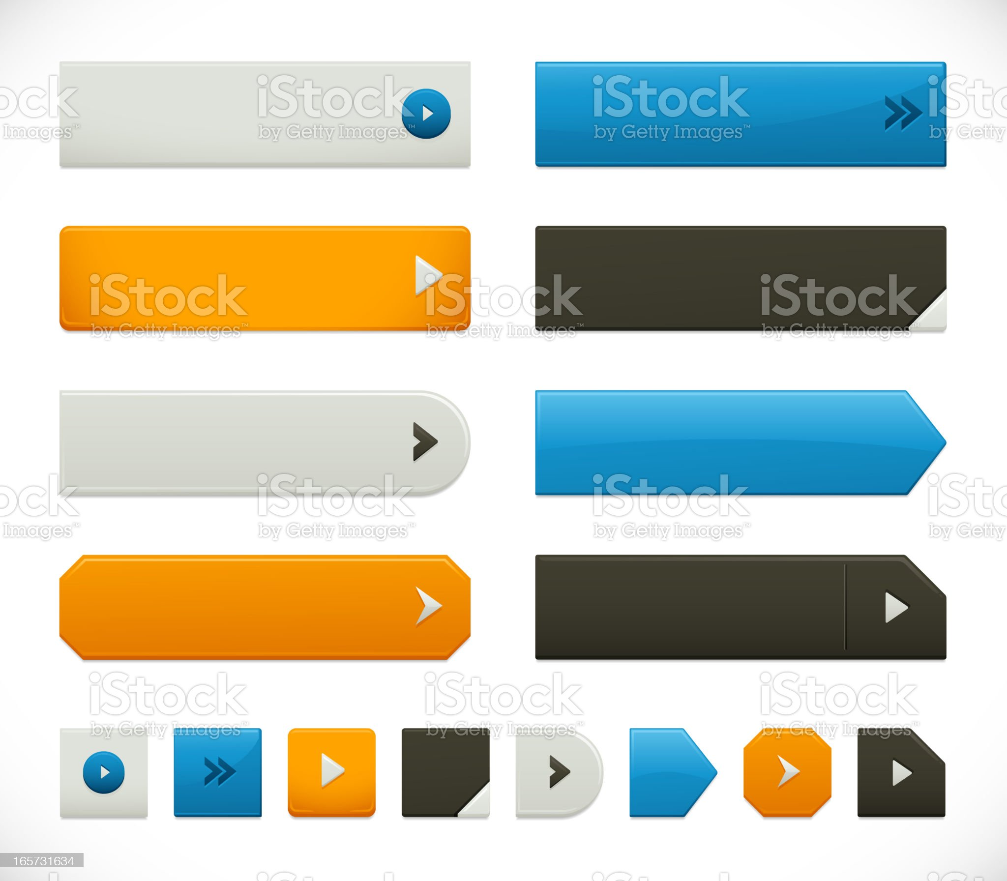 Sharp Web Button Elements royalty-free stock vector art