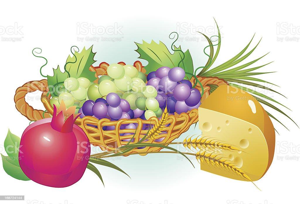 shavuot hebrew holiday set of food vector art illustration