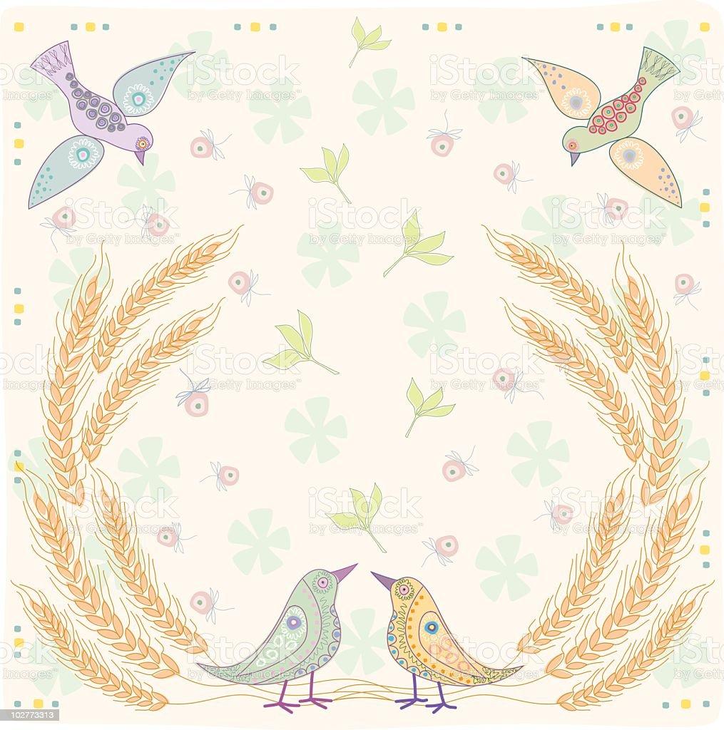 Shavuot Wheat Ears and Birds vector art illustration