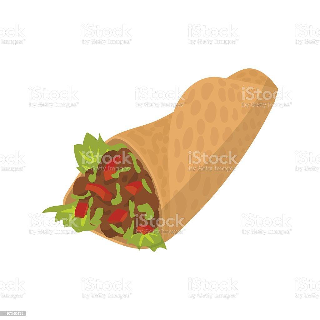 Shawarma cartoon sign vector art illustration