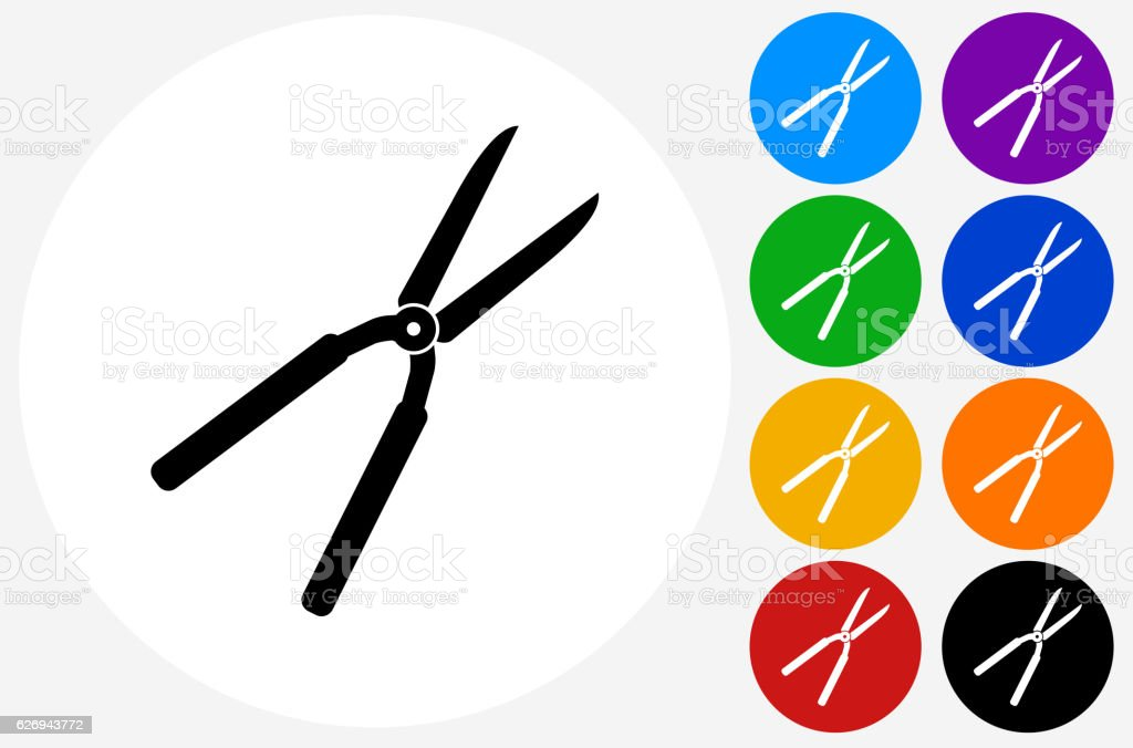 Shears Icon on Flat Color Circle Buttons vector art illustration