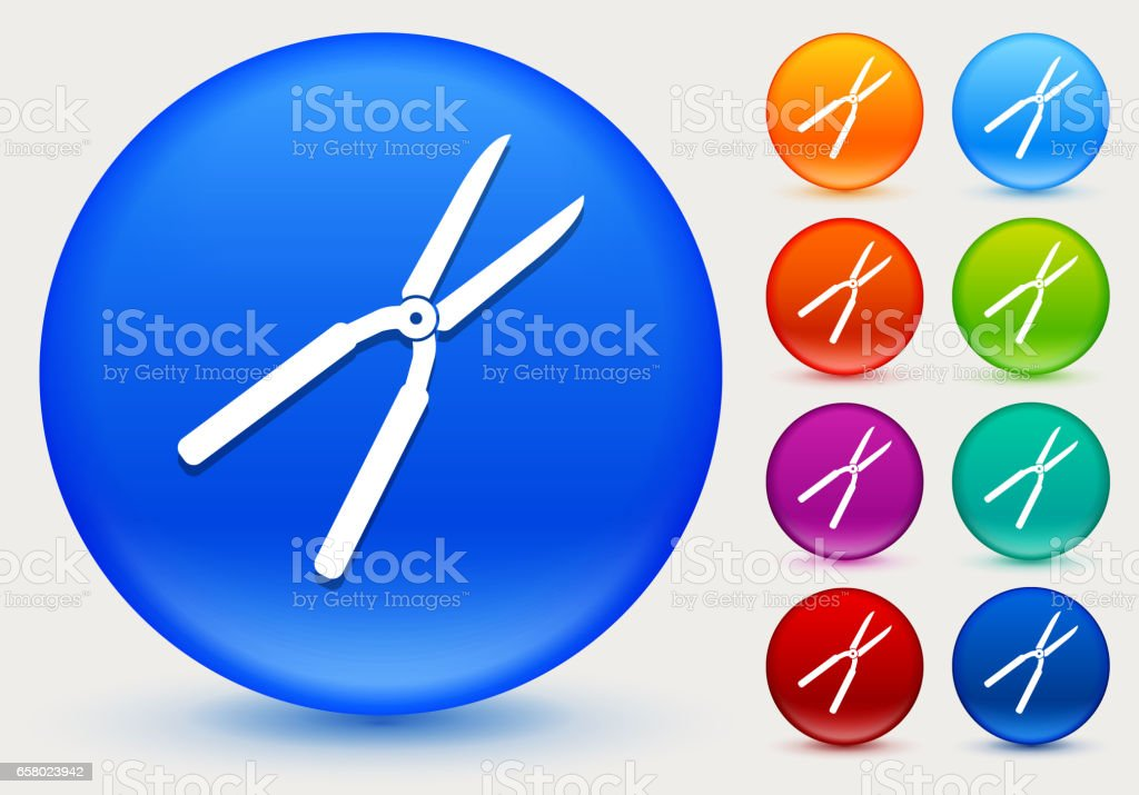 Shears Icon on Shiny Color Circle Buttons vector art illustration