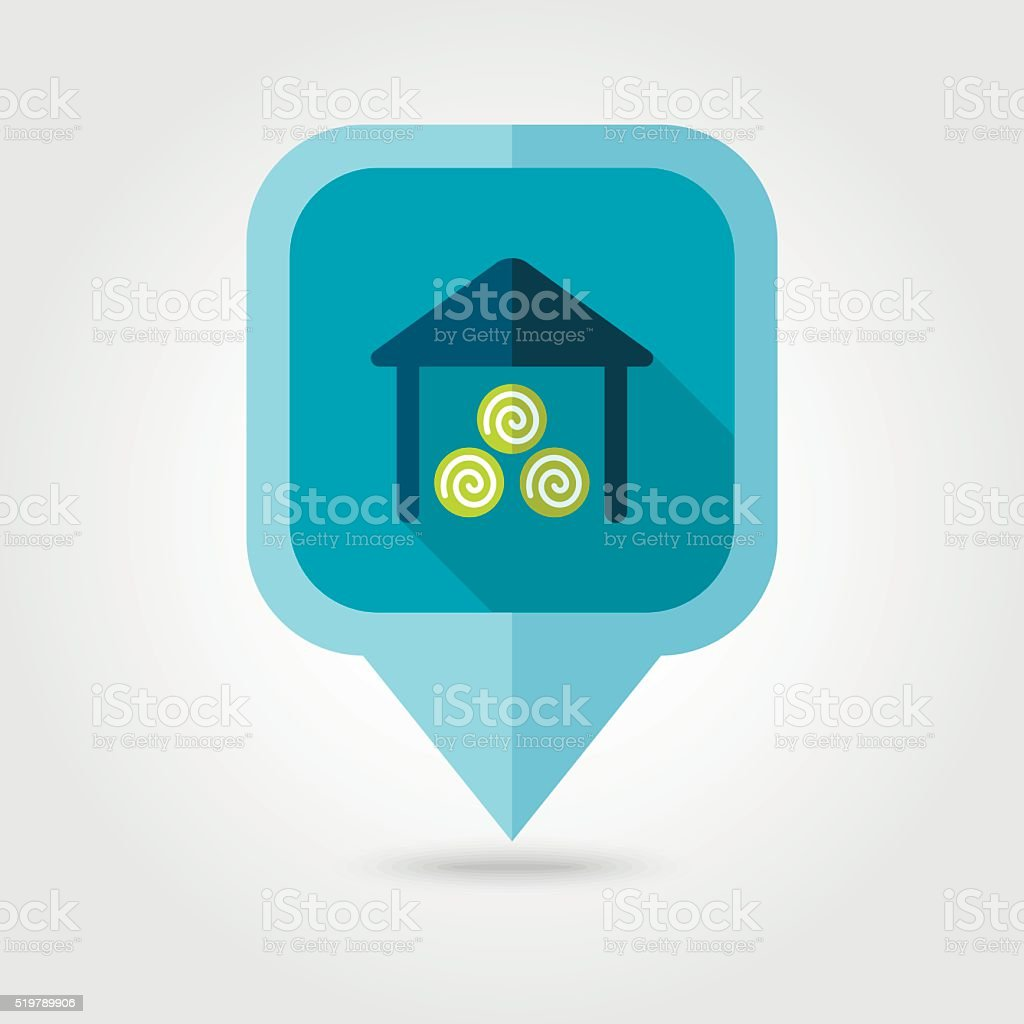 Shed flat pin map icon. Map pointer vector art illustration