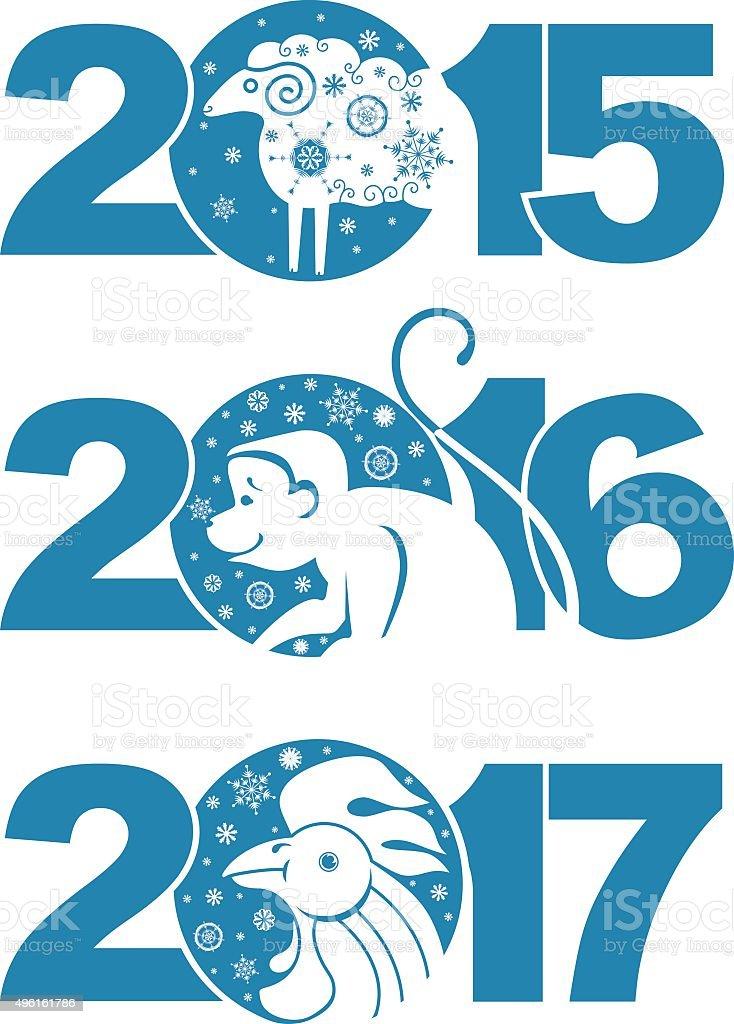 Sheep 2015. Monkey 2016. Rooster 2017. vector art illustration
