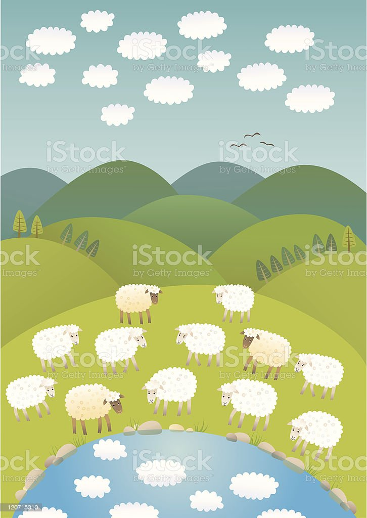 Sheep and clouds vector art illustration