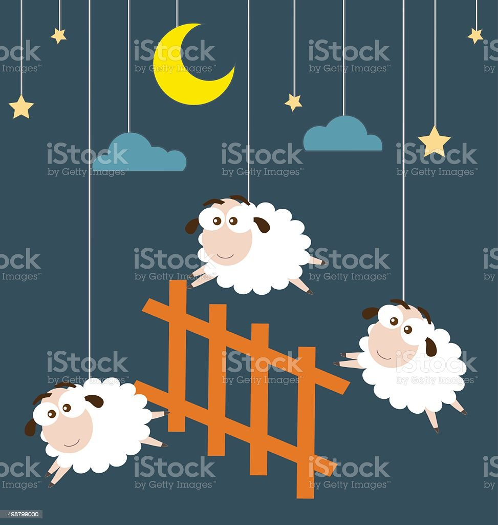 Sheep and Fence hanging on the ropes with night scene vector art illustration