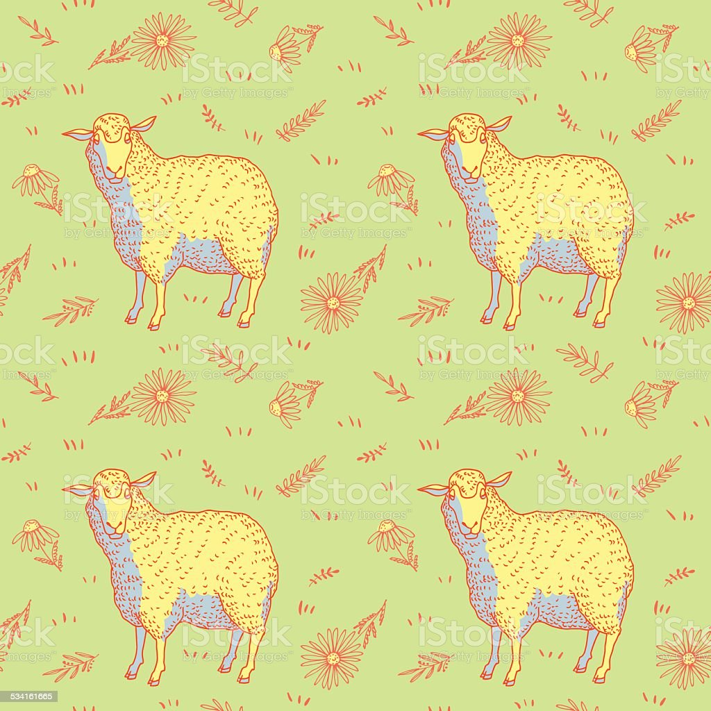 Sheep and flowers pattern vector art illustration