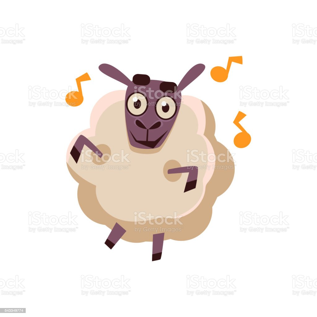 Sheep Dancing With Music vector art illustration
