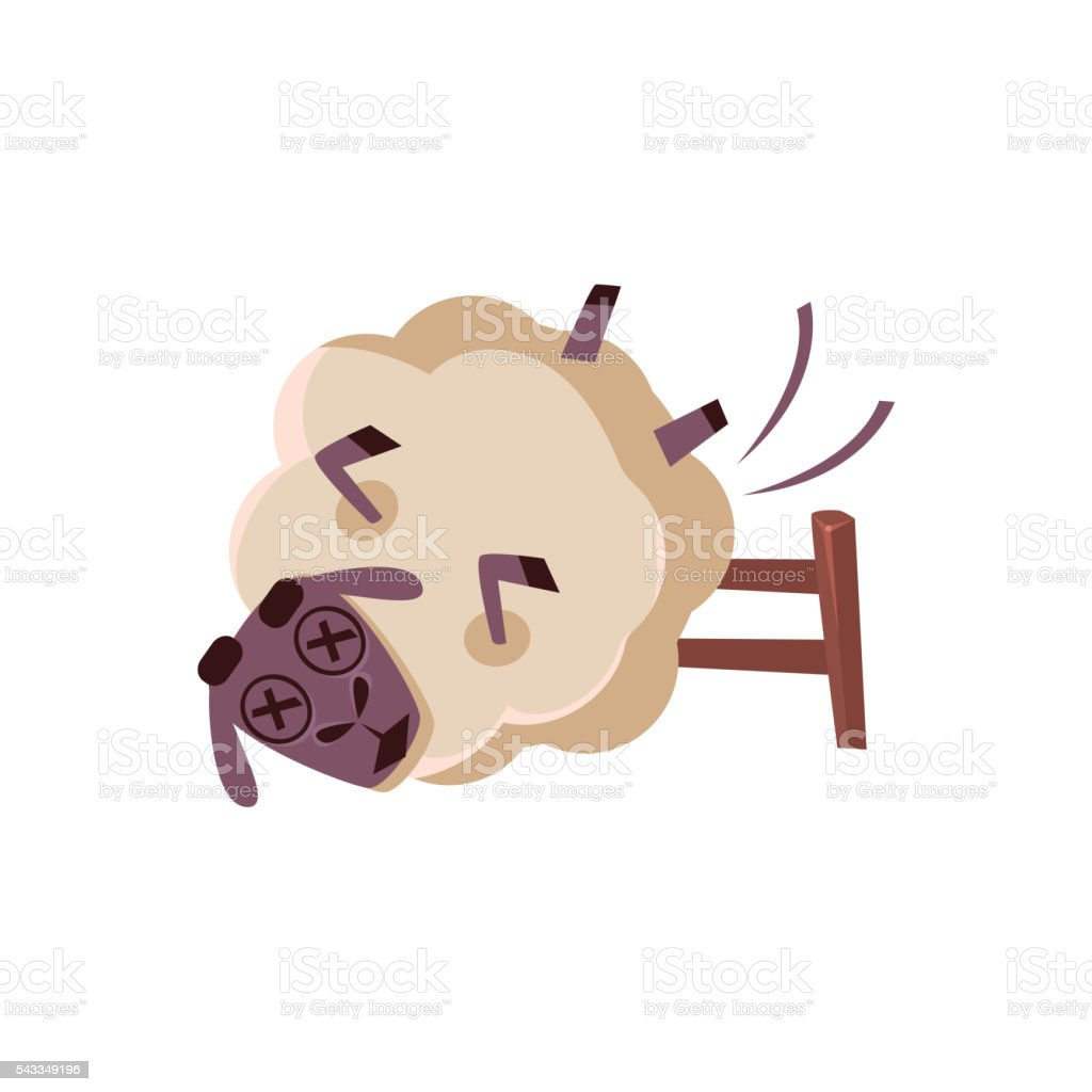 Sheep Falling From The Chair vector art illustration
