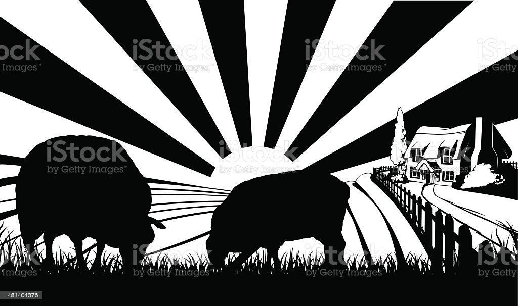 Sheep farm field concept vector art illustration