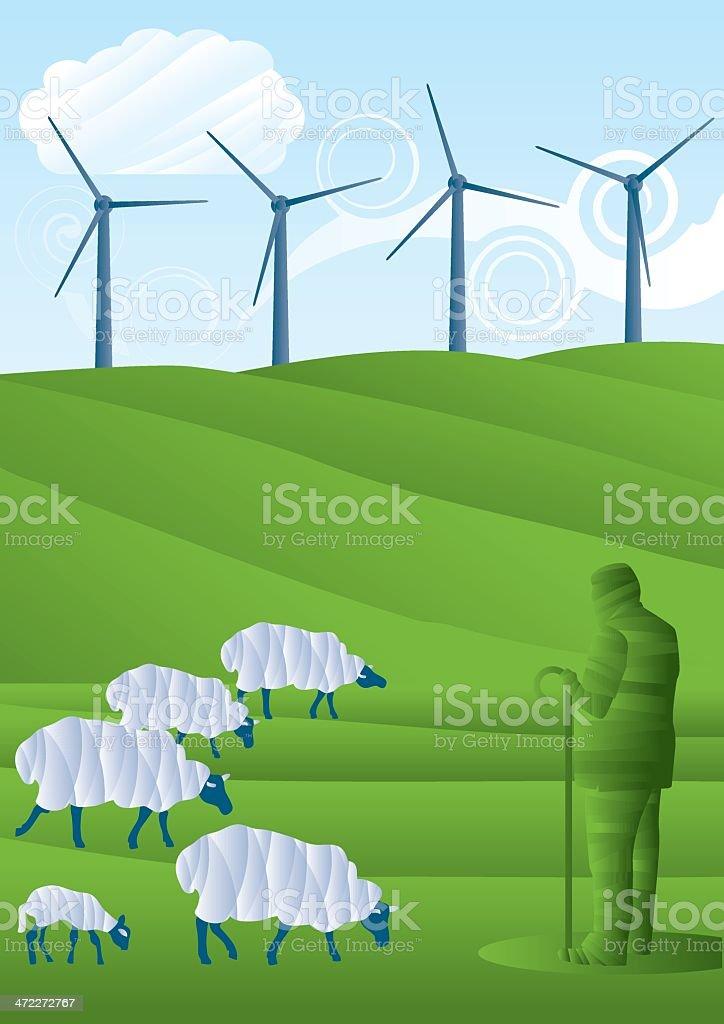 Sheep, Farmer and Wind farm royalty-free stock vector art
