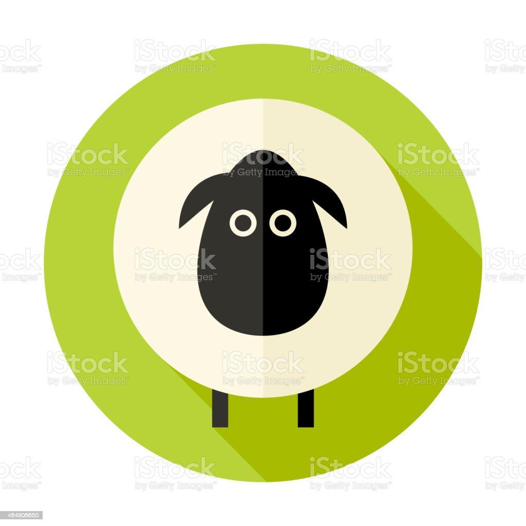 Sheep Flat Circle Icon over Green vector art illustration
