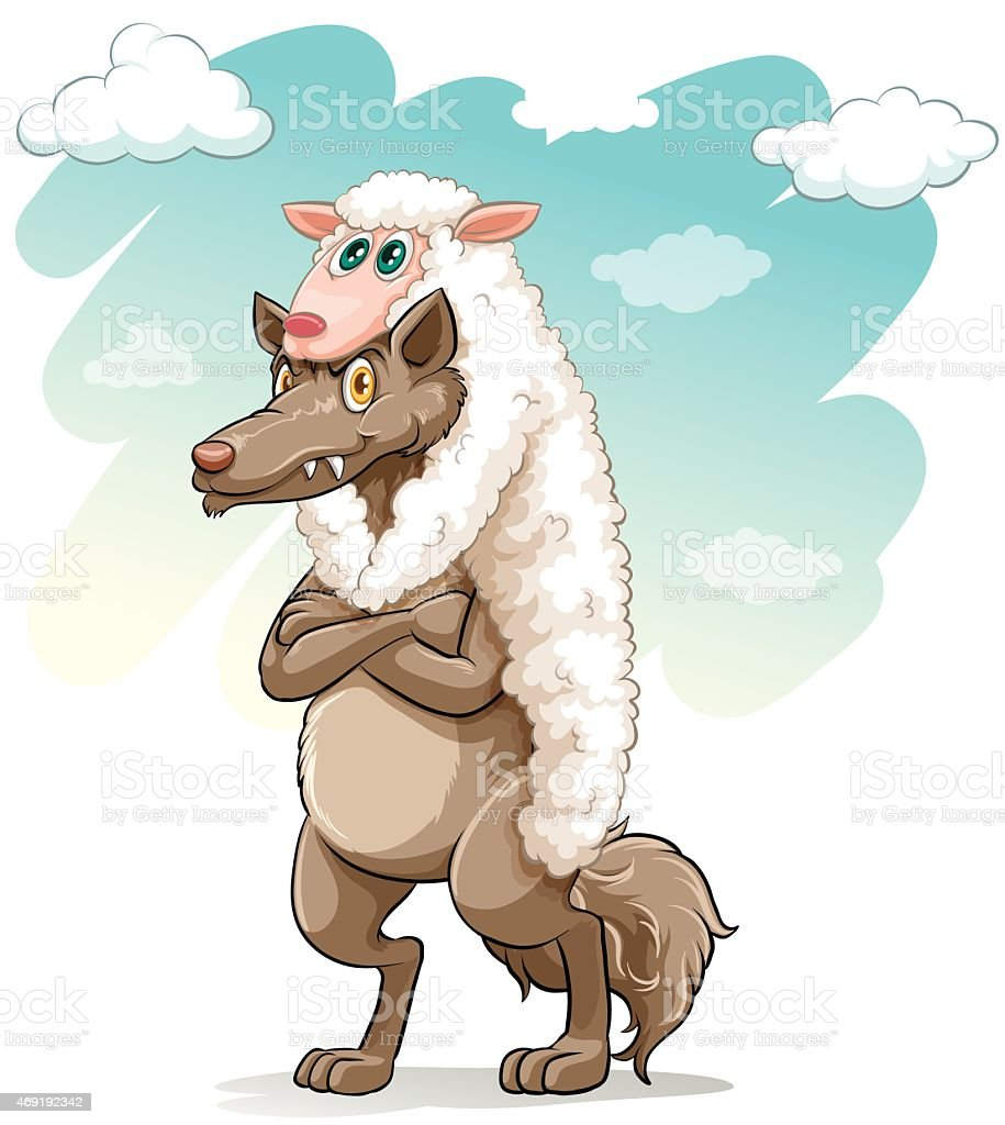 Sheep hugging the wolf vector art illustration