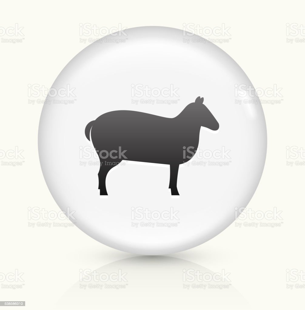 Sheep icon on white round vector button vector art illustration