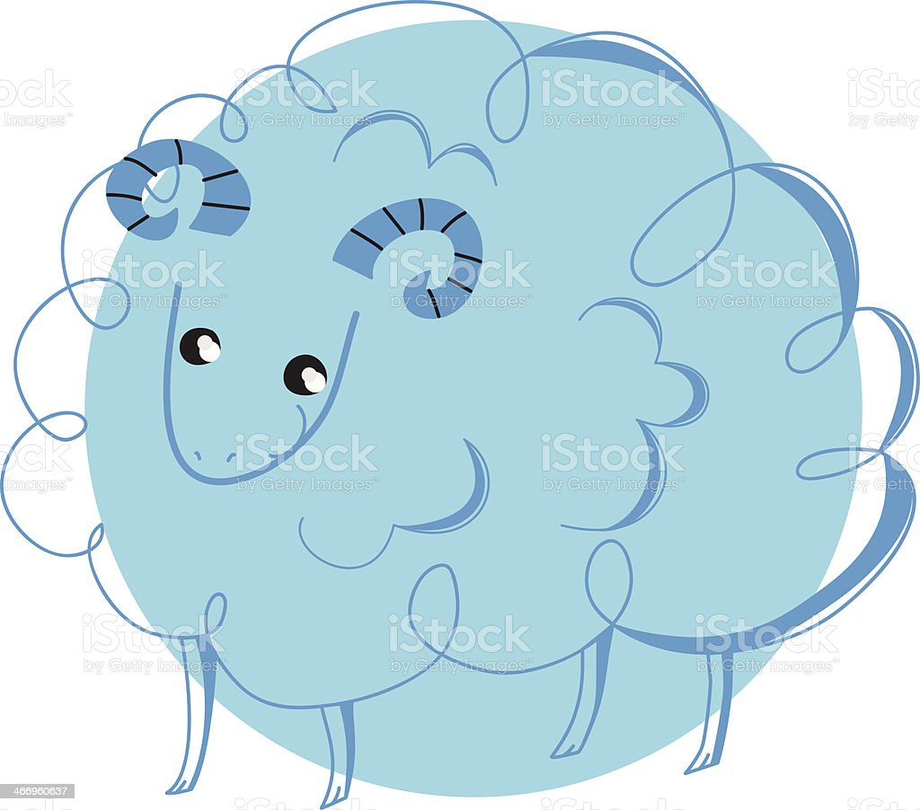 sheep in blue circle royalty-free stock vector art