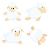 Sheep in cartoon style isolated on white background.
