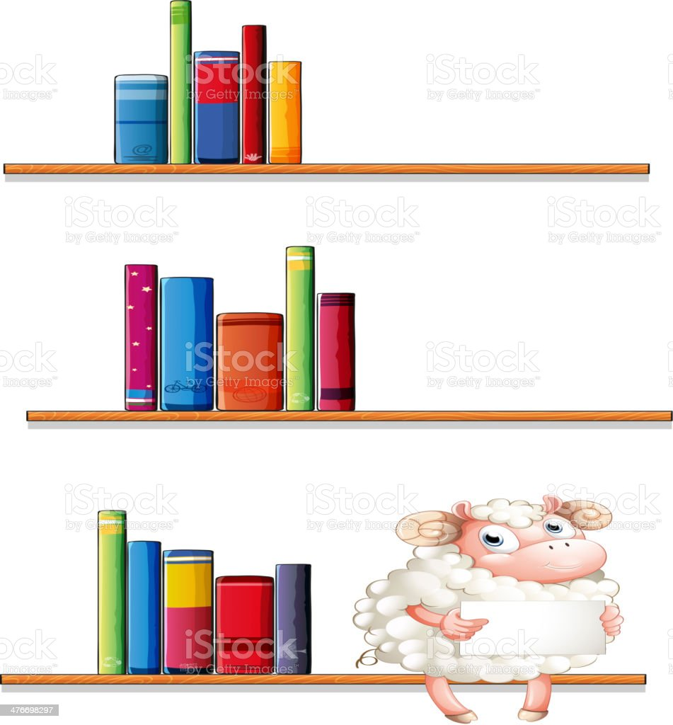 Sheep in the library royalty-free stock vector art