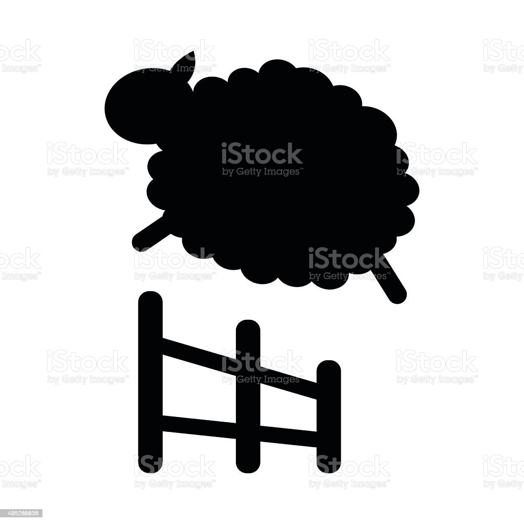 Sheep jumping icon vector art illustration