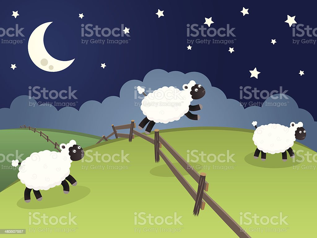 Sheep jumping over a fence in a rolling night landscape vector art illustration